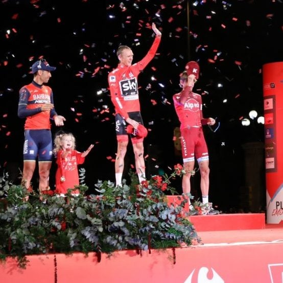 Podium Vuelta 2017, By Diario de Madrid via Wikimedia Commons
